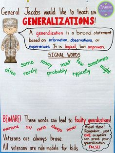 Bring teaching generalizations into the 4th of July or Veteran's Day. Here is an anchor chart to teach generalizations using a General as the teaching hook.