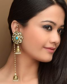 Kundan Jhumka Earrings with Turquoise Agate by Bansri Joaillerie