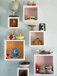 Knick-knack boxes (store/display)  *wallpaper/fabric as decorative backer