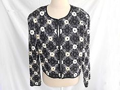 Excited to share this item from my shop: Dead Stock Jacket Vintage Beaded Embroidered all Over Flowers Black Silk Short Evening Size PL Laurence Kazar Floral Vintage 70s, Etsy Vintage, Vintage Fashion, Sequin Jacket, Sequin Party Dress, Silk Shorts, Sporty Chic, Black Silk, Womens Fashion