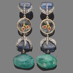 A pair of gem-set pendent earrings Sold for £2,400 inc. premium
