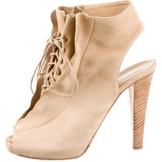 Pre-owned Giuseppe Zanotti Booties ($195) ❤ liked on Polyvore featuring shoes, boots, ankle booties, neutrals, stacked heel boots, giuseppe zanotti, lace ankle booties, tan lace boots and tan peep toe booties