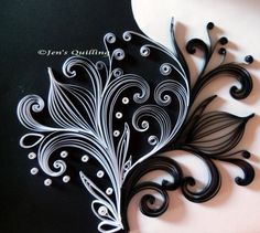 Black & White Abstract Quilling in a Black Frame