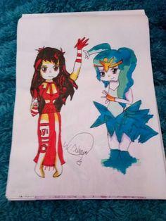 Anime fire girl vs ice water girl art