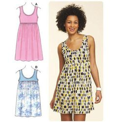 Knits- but skirt can be woven - Kwik Sew 3611 Pull-Over Dress - can copy J Crew tank dress - add a tiny ruffle at the seam