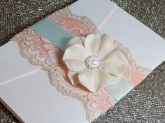 Shabby Chic Wedding Invtation - Customizable - Mint and Peach