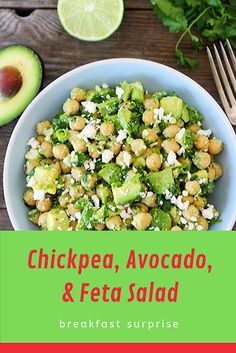 #Chickpea, #Avocado, #& #Feta #Salad    This healthy Chickpea, Avocado, & Feta Salad only takes 5 minutes to make. It's perfect for a quick lunch, dinner, or snack!    Remember my Smashed Chickpea & Avocado Salad Sandwich? If you've tried it, you know what I am talking about. It is pretty much the best sandwich ever. I eat it all of the time. If you haven't tried it, you are missing out. Add it to your must make list right now. Relish Recipes, Carrot Recipes, Bacon Recipes, Shrimp Recipes, Potato Recipes, Appetizer Recipes, Healthy Recipes, Escarole Recipes