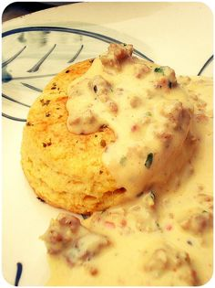 buttermilk cheddar biscuits with gravy
