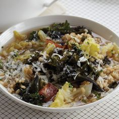 Cabbage-and-Kale Soup with Farro | For this kale-and-cabbage soup, chef Melissa Perello uses just a little bit of pancetta and a Parmesan-cheese rind to give the broth a rich flavor.