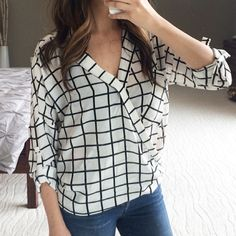 """Last one! S • Ark & Co. Grid top 2x host pick! Best in retail host pick!                                                       On trend grid print. Wrap front, drop shoulders, high low hem. 100% polyester. Runs true to size with an oversized fit. I'm 5'5"""" size 2 modeling a small. No trades. Ark & Co Tops"""