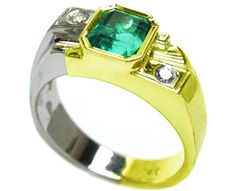 White gold men's emerald rings