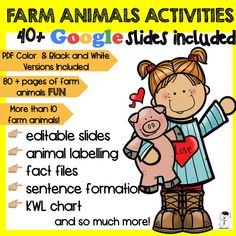 More than 40 Google Slides meant to keep your students interested while teaching everything about farm animals. Also included - the pdf version both blackwhite and colour.