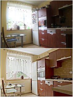 Mieszkanie na sprzedaż w Olsztynie. Zdjęcie kuchni przed i po stylizacji wnętrza. Jakość prezentacji nie do opisania ;) Home Staging, Loft, Cabinet, Storage, Bed, Furniture, Home Decor, Clothes Stand, Homemade Home Decor