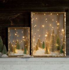 Create an Enchanted Forest With This Shadow Box DIY You don't have to be a crafting queen to whip up charming holiday decorations. This enchanting shadow box DIY reminds us of stargazing on a cold Winter night. Diy Christmas Shadow Box, Noel Christmas, Winter Christmas, Christmas Trends, Homemade Christmas, Diy Christmas Art, Christmas Candles, Diy Christmas Village Houses, Vintage Christmas Trees