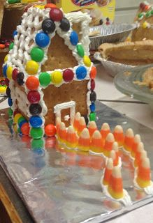 """I know this is not sewing, but I had to show you how creative my family is. Last year we had so much fun making graham cracker """"ginger. Graham Cracker House, Graham Cracker Gingerbread House, Cardboard Gingerbread House, Graham Cracker Recipes, Graham Cracker Crumbs, Graham Crackers, Christmas 2014, Family Christmas, Cookie House"""