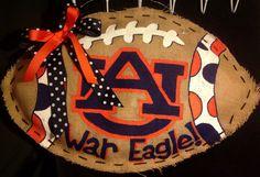 Auburn burlap football by CreativeDelirium on Etsy, $35.00