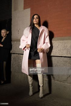 Sofia Carson is seen on the street attending Marc Jacobs during New York Fashion Week wearing Marc Jacobs on February 14, 2018 in New York City.