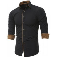 b4f96faa6ec Personalized Striped Men S Casual Slim Long Sleeved Shirt  Fashion   T-Shirts