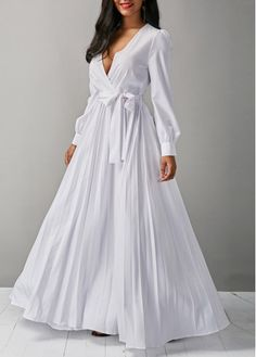 V Neck Long Sleeve White Belted Maxi Dress on sale only US$36.79 now, buy cheap V Neck Long Sleeve White Belted Maxi Dress at liligal.com   #liligal #dresses #womenswear #womensfashion