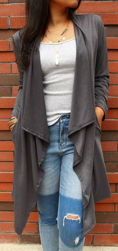 Amazing price $26.99  Women's Fashion Fall / Winter Plaid Outfit Gray Cardigans Coat. Search more at CHICNICO!