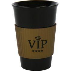 O copo Preto VIP**** preto e dourado, de cerâmica e com faixa em latex é o presente original para celebrar com amigos especiais.