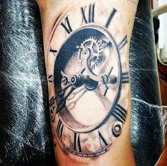 stairs to clock tattoo Tiger Tattoo Sleeve, Tattoo Sleeve Designs, Sleeve Tattoos, Old Clock Tattoo, Clock Tattoo Design, Baby Tattoos, Leg Tattoos, Arm Tattoo, Time Piece Tattoo