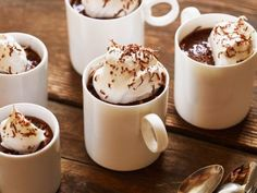 Pots de Creme  - Recipe courtesy of Ree Drummond  Finish off a dinner party with a creamy, chocolatey dessert that's easy to make. Melt the chocolate (and intensify it) by pouring hot, strong coffee over the top. Pour the mixture into small Mason jars, teacups or wine glasses, and top with fresh whipped cream once it sets