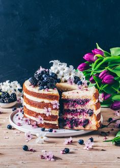 This vegan Lemon Blueberry Cake is soft, moist, and totally delicious! It is layered with a creamy lemon frosting and a sweet blueberry filling, making it a perfect dessert for Easter or anytime you want a fruity layer cake! Vegan Lemon Cake, Cake Vegan, Vegan Cheesecake, Blueberry Bundt Cake, Vegan Blueberry, Lemon Blueberry Cakes, Vegan Sweets, Vegan Desserts, Dessert Recipes