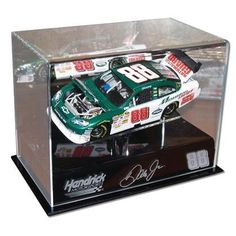 """Dale Earnhardt Jr. 1/24th Die Cast Display Case with Platform - Other Display Cases by NASCAR. $64.99. Protect your investment with this attractive acrylic case from Mounted Memories. Proudly display your Dale Jr. die-cast car in this unique case which comes with it's own built in pedestal. Each case is hand crafted and engraved with team affiliated sponsor and driver facsimile signature. The case interior measurements are as follows: 9 3/4"""" in length, 5 1/2"""" in ..."""