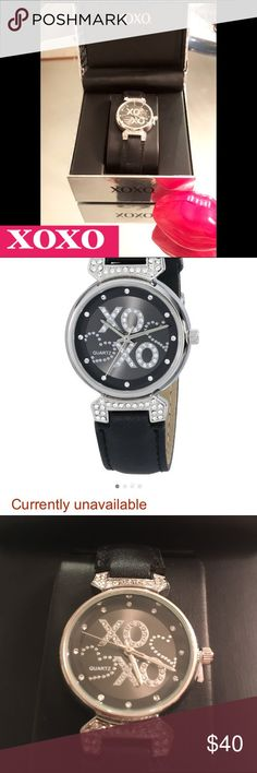 "🆕❌⭕️❌⭕️BlackLeatherPave Rhinestone❌SOLD OUT Watch XOXO Circa 1991 one of the 1st,young brands to design/sell""runway2real-way💋gray dial w/pave logo,3hands,💋leather band 18mm💋Face30mm Water Res.Hugs&Kisses expressing sincerity,Faith,Love,❌⭕️custom of placing❌at bottom of letters 2mean💋dates back Middle Ages,aChristian Cross drawn on documents A💋placed upon the cross,by signer as a display 2their oath❌used as a holy symbol Christian History represents Greek word4 Christ ΧΡΙΣΤΟΣ;this gave…"