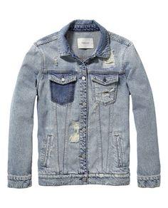 Long Trucker Jacket - Scotch and Soda Denim Shirt Men, Denim Jacket Men, Denim Coat, Denim Jeans, Denim Jackets, Star Clothing, Clothing Co, Jaket Jeans, Denim Fashion