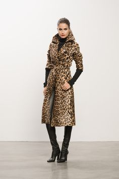 Leopard Calf Skin Trench, Cashmere Turtleneck Sweater with Sweet Revenge Legging Boot  #leggingboot #cashmere #trenchcoat #leopardprint