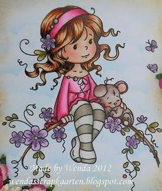 Skin - Hair - Forecasting and Simulation Pink - Footman - Maillot - / / Purple - Leaves - Whimsy Stamps, Digi Stamps, Cute Images, Cute Pictures, Cute Girl Drawing, Tatty Teddy, Copic Markers, Cute Illustration, Fabric Painting