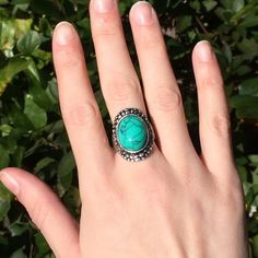 Turquoise Boho Ring NWT NWT from The Purple Temple. Very detailed. Beautiful turquoise gemstone in the middle with a boho vibe. Metal alloy. The Purple Temple Jewelry Rings