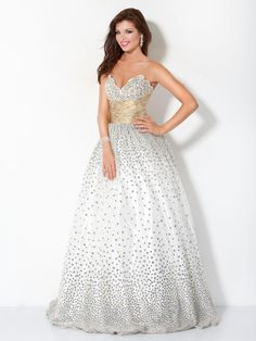 #Jovani style 3442  #JovaniFashions #dress #beaded #embellished #ballgown #white #PolkaDots #fashion Quinceañera