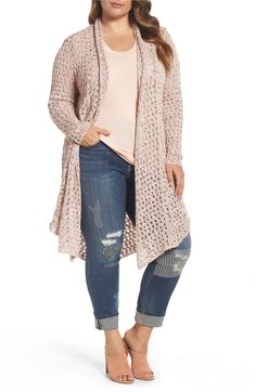 Main Image - Melissa McCarthy Seven7 Pointelle Knit Open Front Topper (Plus Size)