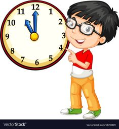 Asian boy looking at big clock vector image on VectorStock Wallpaper For Computer Backgrounds, Clock Clipart, Telling Time Activities, School Border, Student Cartoon, Powerpoint Animation, Frame Border Design, School Murals, School Images