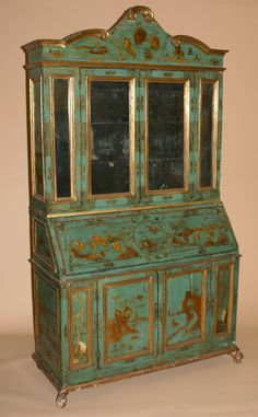 talian, painted, lacca contrafatta, and parcel-gilt secretaire bookcase Mid 18th century.