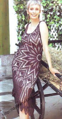 Tejido Facil: Patrón: Vestido negro al crochet (elegantísimo)