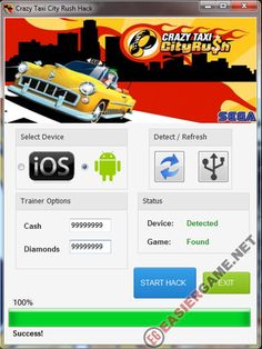 Unlimited Cash, Diamonds in Crazy Taxi City Rush  Download Crazy Taxi City Rush Cheats:  http://easiergame.net/crazy-taxi-city-rush-cheat-hack-ios-android/