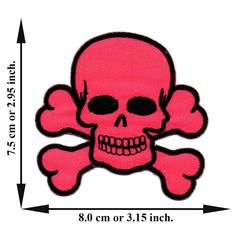 'Pink Skull and Crossbone Patch' Iron on Patch 2.95'x3.15' Appliques Hat Cap Polo Backpack Clothing Jacket Shirt DIY Embroidered Iron on / Sew on Patch ** Check out this great item.