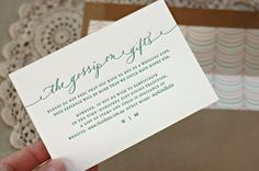 Wedding Gift Registry Wording : cute wording for a registry card by bespoke press more registry card ...