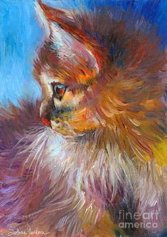 Curious Tubby Kitten  Oil on board Painting by Svetlana Novikova ♥•♥•♥