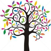 Abstract colorful tree. simple stylized tree with rainbow leaves.