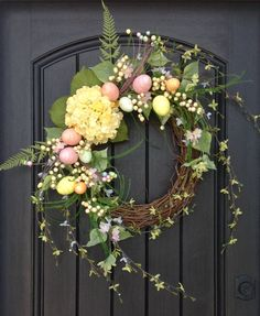 Spring Wreath Easter Egg Wreath Summer Wreath Grapevine Door Wreath Decor Yellow Hydrangea Pink Blue Green Indoor Outdoor Decoration, Eggs by AnExtraordinaryGift on Etsy