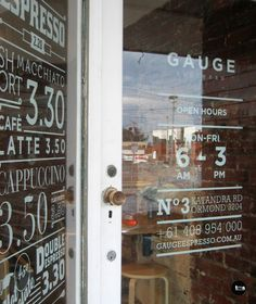 menu and trading hours, door decal, window decal, gauge espresso, cafe signage, by caramel creative