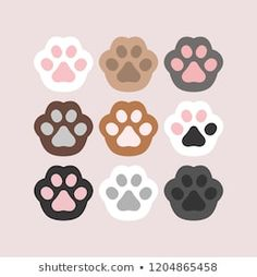 Cat Paw Drawing, Cat Icon, Drawing Journal, Dibujos Cute, Dog Vector, Cute Cartoon Wallpapers, Cat Paws, Animal Party, Cute Stickers