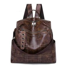 Women Vintage Backpacks Multi-function High Quality Leather Backpack For Girls Large Female Bag School Shoulder Bags 2019 Leather Backpacks For Girls, Vintage Backpacks, Girl Backpacks, Leather Backpack Purse, Leather Purses, Leather Handbags, Leather Bag, Fashion Bags, Fashion Backpack