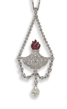 An antique ruby and diamond set pendant in the form of the Flaming Torch of Love, c.1900