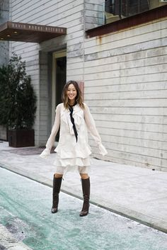 Aimee song from song of style wears a chloe shearling coat and dress Song of Style waysify